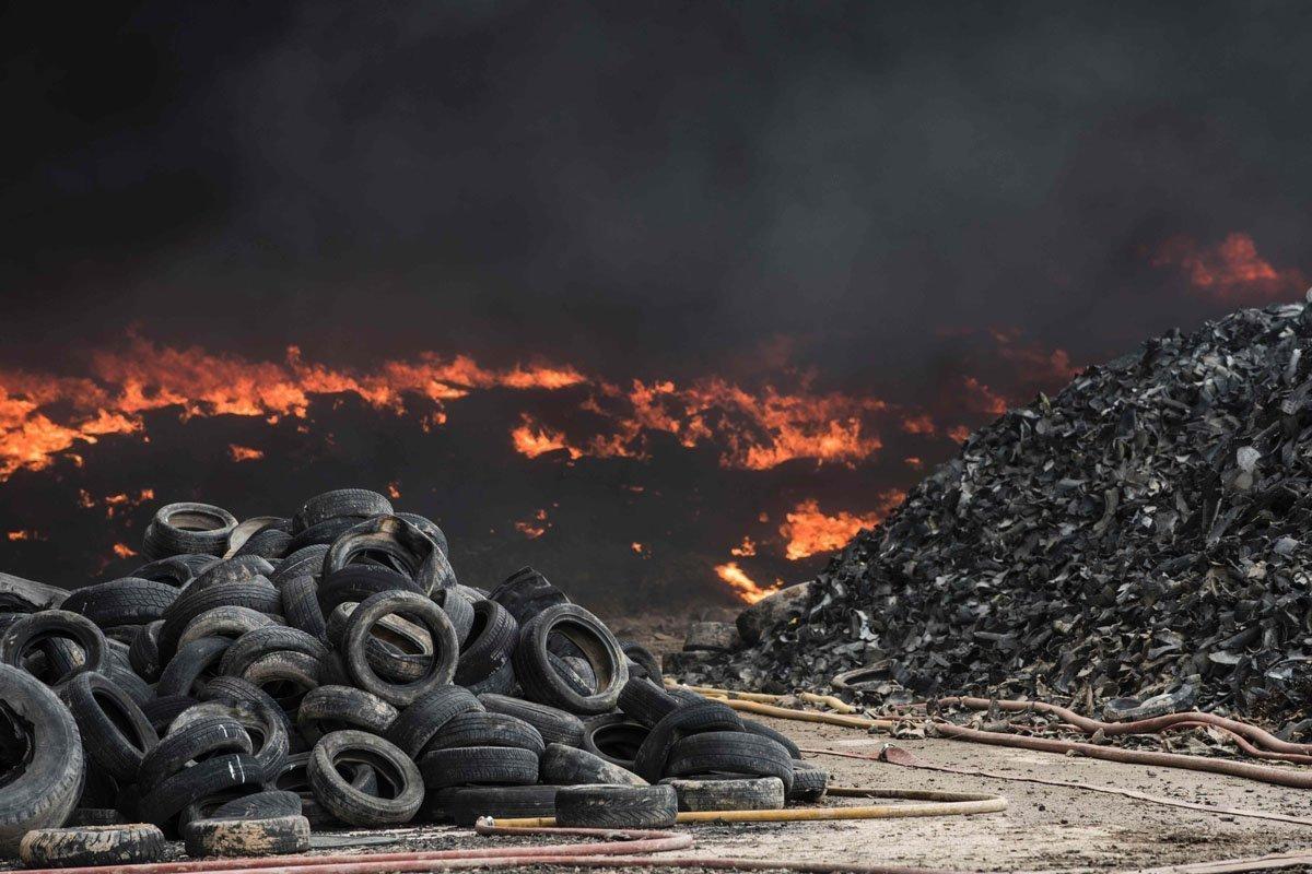 burning tyres