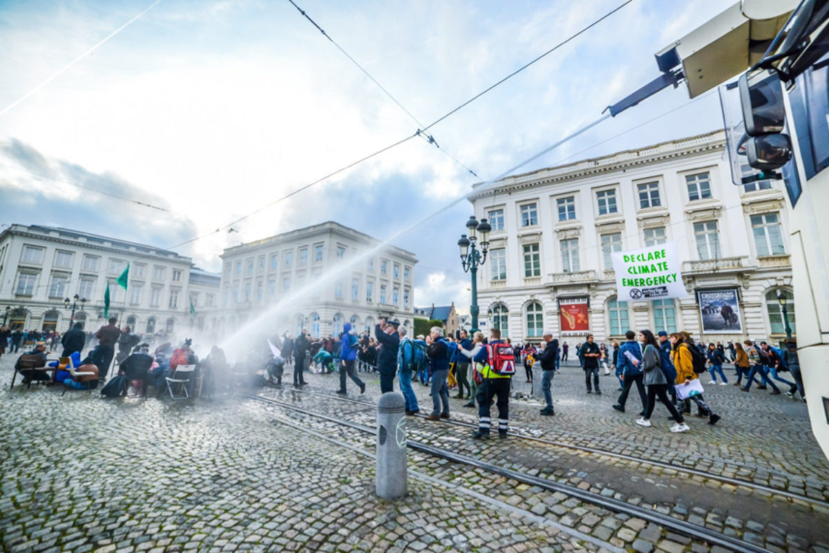 A People's Assembly sprayed by a water cannon at the Royal Rebellion