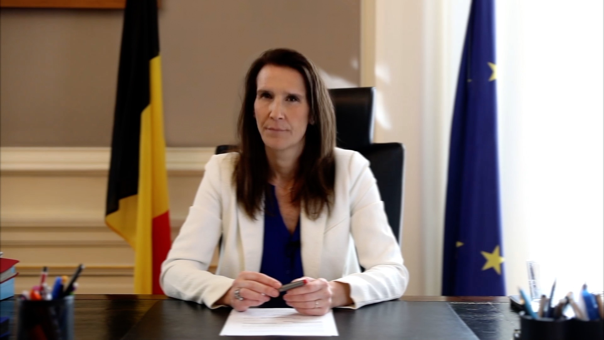 A video still from XR Belgium's speech for Sophie Wilmès